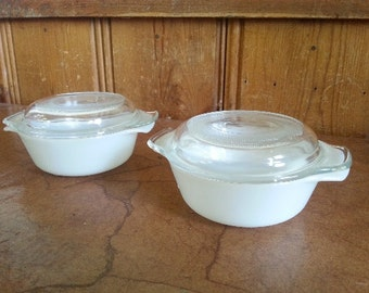 Fire King Anchor Hocking Ovenproof White Mini Casserole Dishes with Lid