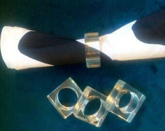 Vintage, Lucite, Napkin, Rings, Set 4
