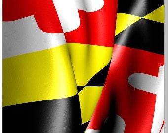 Maryland Flag Wavy LAMINATED Cornhole Wrap Bag Toss Decal Baggo Skin Sticker Wraps