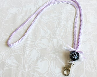 badge lanyard ID holder/Neck strap/Key chain/Lobster clasp/2colors ribbbon/Lavender/White