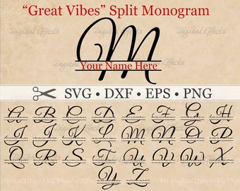 Great Vibes SPLIT LETTER MONOGRAM Svg, Dxf, Eps, Png Files, Split Script Font Alphabet Digital, Silhouette,Fancy Split Monogram Files,Cricut