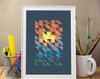 Sunset Print, Geometric print art,  Mid century print,  Abstract print,  geometric art,  mid century art,  mid century modern