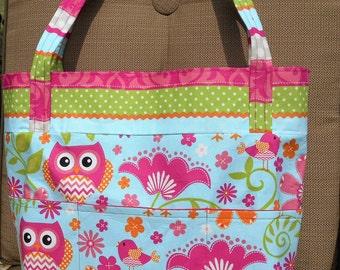 Pink Owls Diaper Bag, tote, purse, bookbag, beach bag