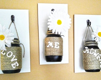 Love Me Always Vase Set, Mason Jar Vases, Hanging Mason Jar, Mason Jar Decor, Rustic Wall Decor, Country Decor, Twine Wrapped, Love Decor