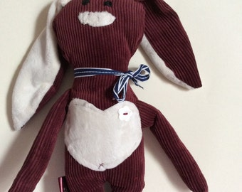 Handmade Soft Toy Floppy eared Bunny with heart