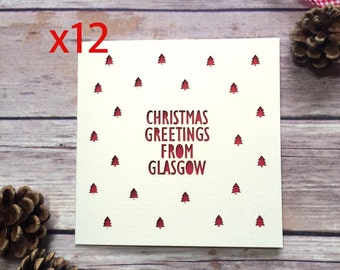 Personalised Location Christmas Card Pack, Custom Christmas Cards, Christmas Home Town, Christmas Card Multipack, Lasercut Card, Pack of 12