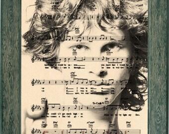 Jim Morrison art, Jim Morrison music sheet art, Jim Morrison print, Jim Morrison poster, Jim Morrison light my fire, Jim Morrison gift
