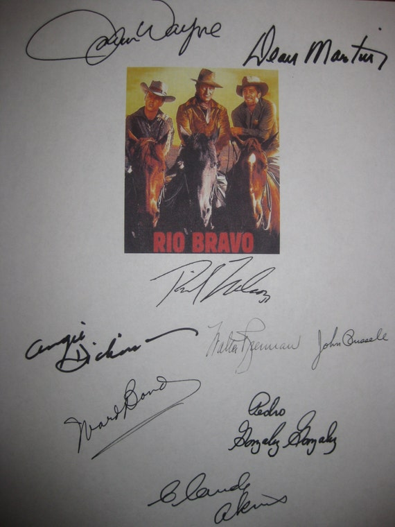 Rio Bravo Signed Film Movie Screenplay Script X9 Autograph John Wayne Dean Martin Ricky Nelson Angie Dickinson Walter Brennan Ward Bond