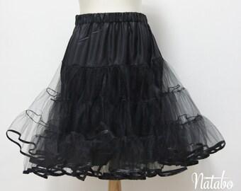 Black tulle petticoat, 1950s style petticoat, 3 layers petticoat, full pin up petticoat, tulle underskirt