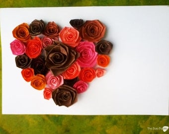 Heart of roses quilled card