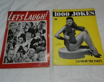 Risque Cartoons and jokes - 2 vintage magazines - Let's Laugh 1928 + 1000 Jokes 1941                                                   35-10