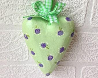 Heart decoration, wooden hanging heart. Vintage inspired handpainted hanging heart, green heart with purple handpainted flowers, door hangin