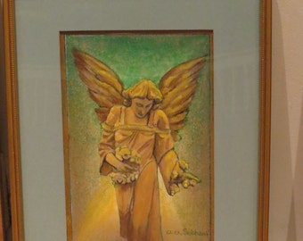 Acrylic and oil on Canvas, Angel, Kindness, Giclee copy of an original