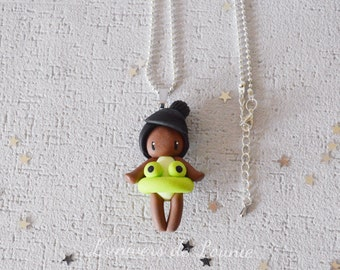 Necklace Princess Tiana swimsuit Beach buoy frog / hand made