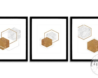 Marble And Wood Geometric Instant Download Printable Set of 3