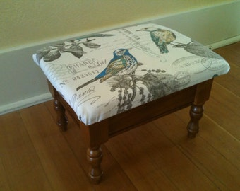 Newly recovered vintage foot stool with storage
