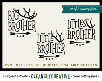 SVG Big Brother Little Brother svg antlers svg arrow svg SET DISCOUNT - dxf eps png Clipart - Cricut & Silhouette - clean cutting files