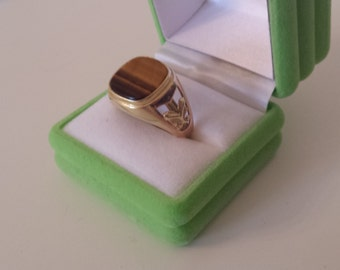 Mens Tigers Eye Ring in gold