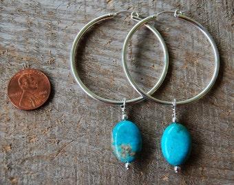 Genuine Turquoise Hoop Earrings
