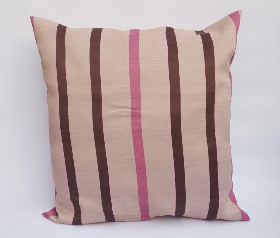 Pink And Brown Stripe On Beige Large Envelope Cushion Cover Handmade