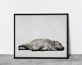 Sleeping Hippo Print, Contemporary Wall Art, Printable Art, Interieur Decor, Animal Print, Black and White, Art for Home, Nursery Decor