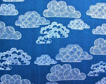 Cloud 9 Fabrics / Eloise Renouf / First Light Nimbus / Navy Blue White / Organic Cotton / Quilting Sewing Dressmaking Material / Half Metre