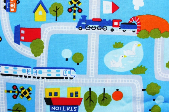 Japanese fabric cotton fabric boys fabric kids trains for Kids train fabric