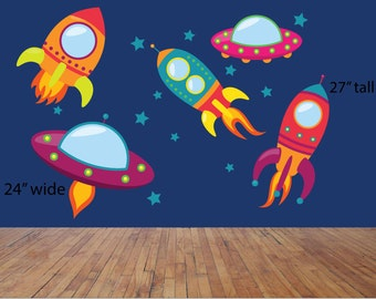 Rocket ship decals, Outer space decals, Star stickers, Boy's room decals, Wall decals, Bedroom stickers, Rocket decals, Boy's bedroom, Space