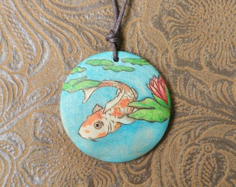 unique koi jewelry, koi and lily pendant, boho jewelry, woodburned japanese koi and waterlily necklace