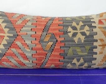 12x24 kilim pillow lumbar striped pillow cover -235b