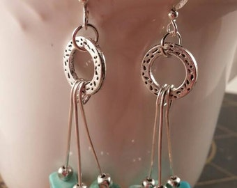 Silver and turquoise magnesite, dangle drop earrings