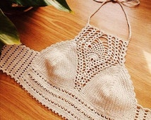 FREE SHIPPING! Crochet top, Crochet halter, crop top, Festival top, Handmade, Hippie, Summerwear, Coachella, Boho, Bohemian, Gypsy Style