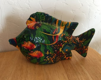 Tropical Fish, porcelain, multi colored,  6 inches high, 10 inches across, 3 inches wide,  felt botton, excellent shape