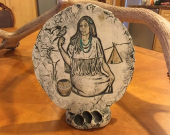 Shapes of Clay, Hand-Crafted, Mt. St. Helen's Ash, #180 with stand, Native American Woman
