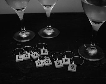 Custom Recycled Scrabble Tile Wine Charms