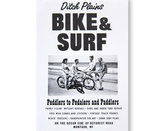 Bike & Surf Roadside Sign Poster Print