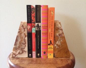 vintage, gorgeous book ends, granite, earth tones