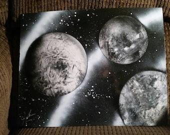 Black & White space spray painting