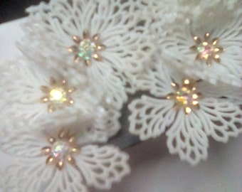 Coro Clip Earrings - White Flowers with AB Rhinestone Centers