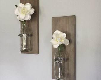 Recycled glass bottle and wood wall vases