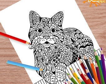 Smilling Cute Cat Coloring Page, Adult Coloring Page PDF, Coloring Book, Instant Download, Advance Coloring
