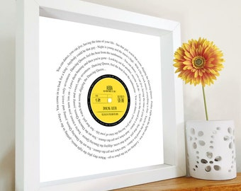 Music Gift - Vinyl Record lyrics framed print PERSONALISED LABEL - Christmas | Birthday | your song, anniversary romantic father's day gift