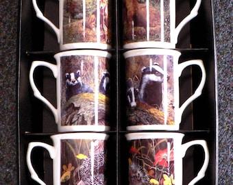 Nature Mugs set of 6 boxed. Choose asstd or individual fox. badger, hedgehog