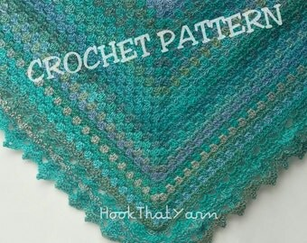 Crochet  Pattern Shawl and Border for the traditional Triangular Granny Square Shawl lacy Border