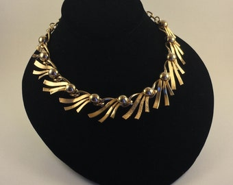 Gold Tone Vintage 1960's Collar Necklace