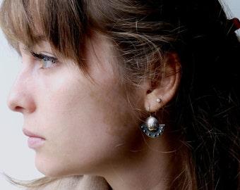 "Earrings made from blackened Silver earrings ""shady circle"", Präkolumbianische inspiration"