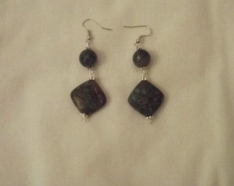 Hand made gemstone drop earrings