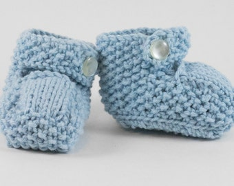 Blue Knit Baby Boots - Baby Booties - Knitted boots - Knit baby shoes