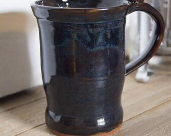 Pottery Coffee Mug, Handmade Ceramic Cup, Handthrown Stoneware Coffee Mug, Unique Kitchenware, Tea Cup, Dark Blue 10 oz Mug