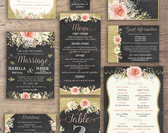 Custom Printable Chalkboard Floral Wedding Invitation Suite- Nine Pieces- Invite, RSVP, Registry, Thank You, Menu, Program, Table No. & More